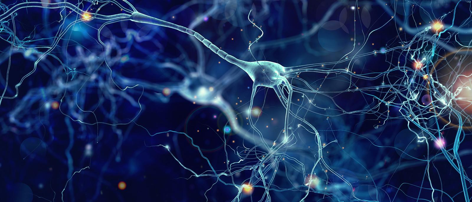 Conceptual illustration of neuron cells with glowing link knots in abstract dark space, high resolution 3D illustration